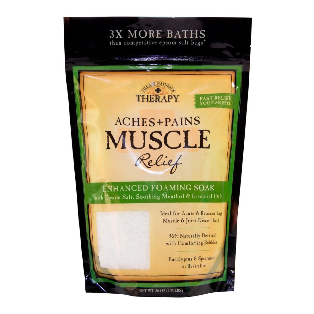 Image of Village Naturals Therapy Muscle Relief Foaming Bath Soak - 36oz