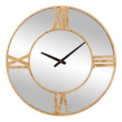 "24"" Minimalist Mirrored Roman Numerical Wall Clock Gold/Metal - Patton Wall Decor"