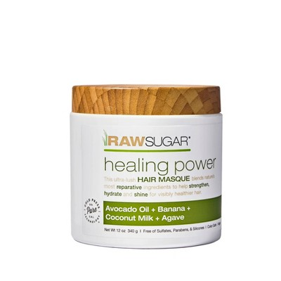 Raw Sugar Healing Power Hair Masque Avocado Oil + Banana + Coconut Milk + Agave - 12oz