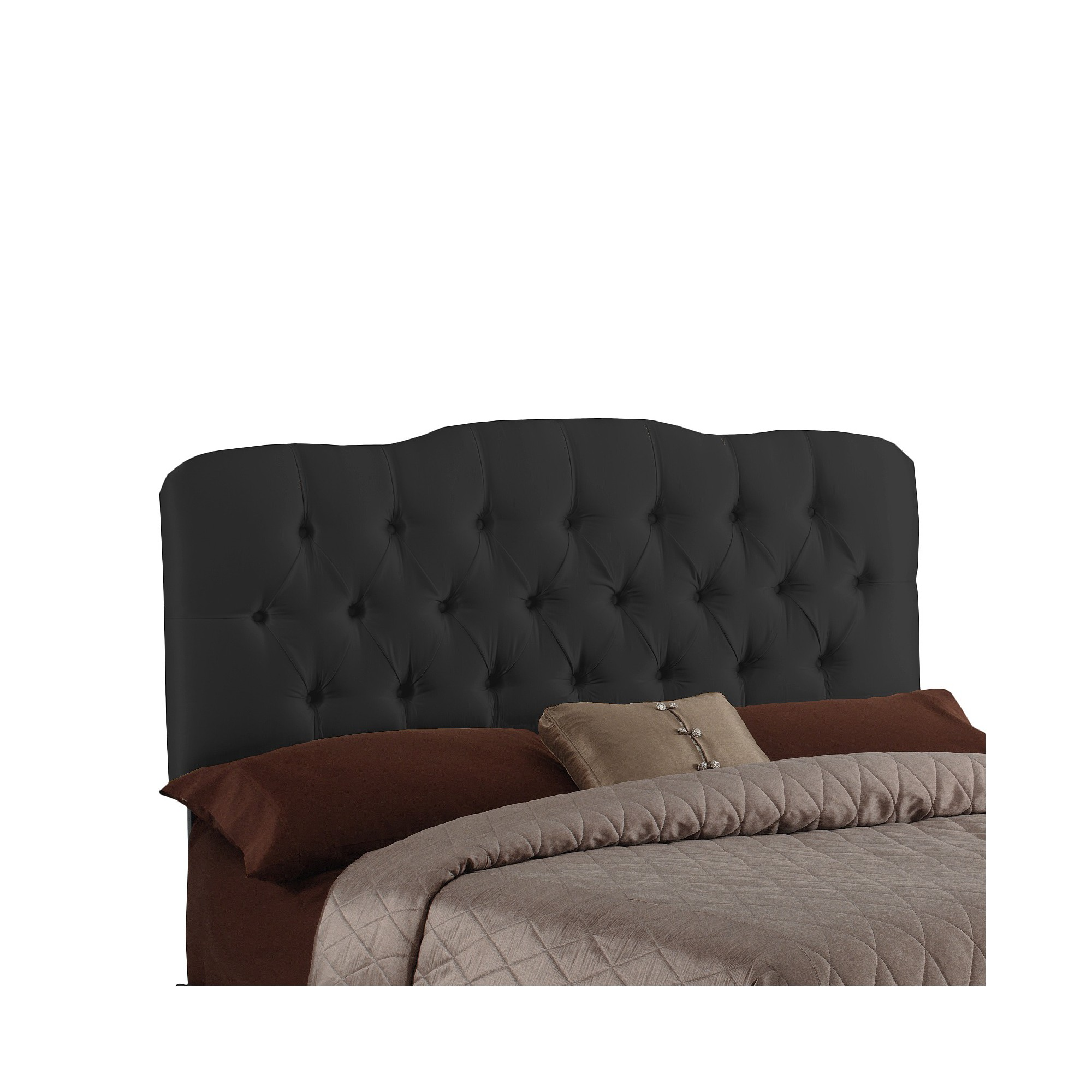 Seville Faux Silk Upholstered Headboard - Shantung Black - Full - Skyline Furniture