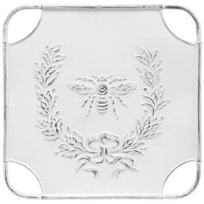 Square Metal Bee Yourself Laurel Design Art Distressed White - StyleCraft