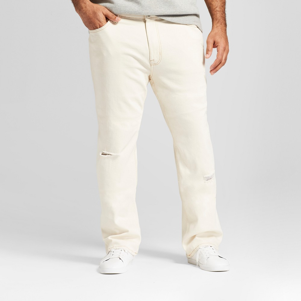 Image of Men's Big & Tall Straight Fit Jeans with Coolmax - Goodfellow & Co Off-White 44x34, Beige