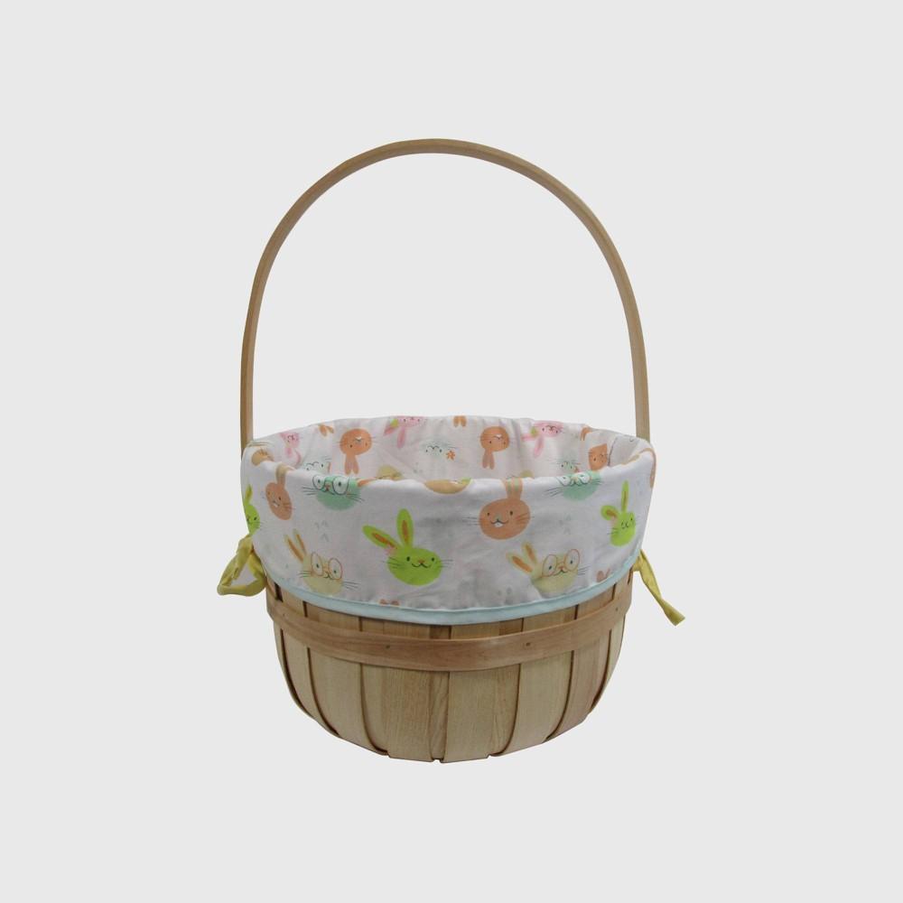 "Image of ""12"""" Chipwood Easter Basket With Bunny Pattern Liner - Spritz"""