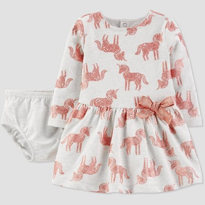 Baby Girls' Glitter Unicorns Romper - Just One You® made by carter's Gray 6M