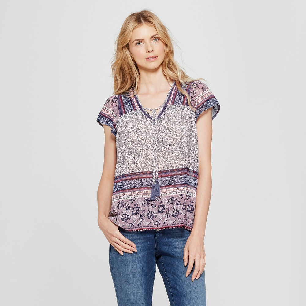 Women's Flutter Sleeve Mixed Print Peasant Top - Knox Rose Purple L, White