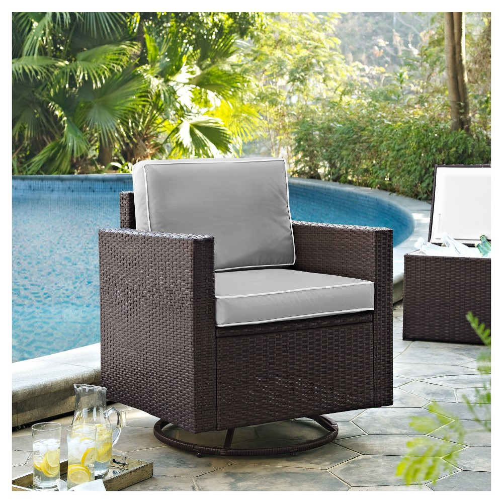 Palm Harbor Outdoor Wicker Swivel Rocker Chair with Gray Cushions - Crosley, Brown/Gray