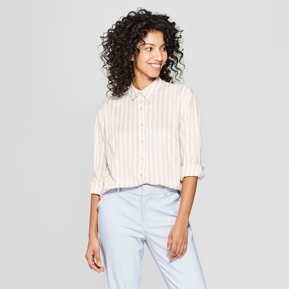 Women's Striped Long Sleeve Collared Any Day Shirt - A New Day White/Light Pink Xxl