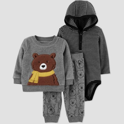 Baby Boys' 3pc Stripe Bodysuit,Bear Crewneck Top & Bottom Set - Just One You® made by carter's Gray/Black 6M