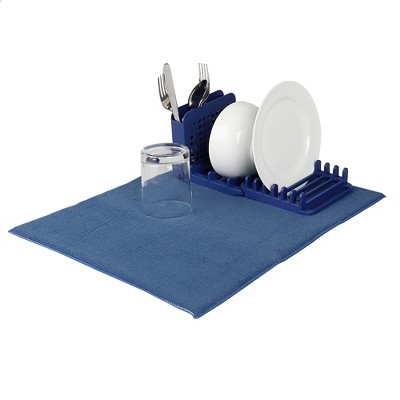 Michael Graves Design 3 Section Plastic  Dish Drying Rack with Super Absorbent Microfiber Mat, Indigo