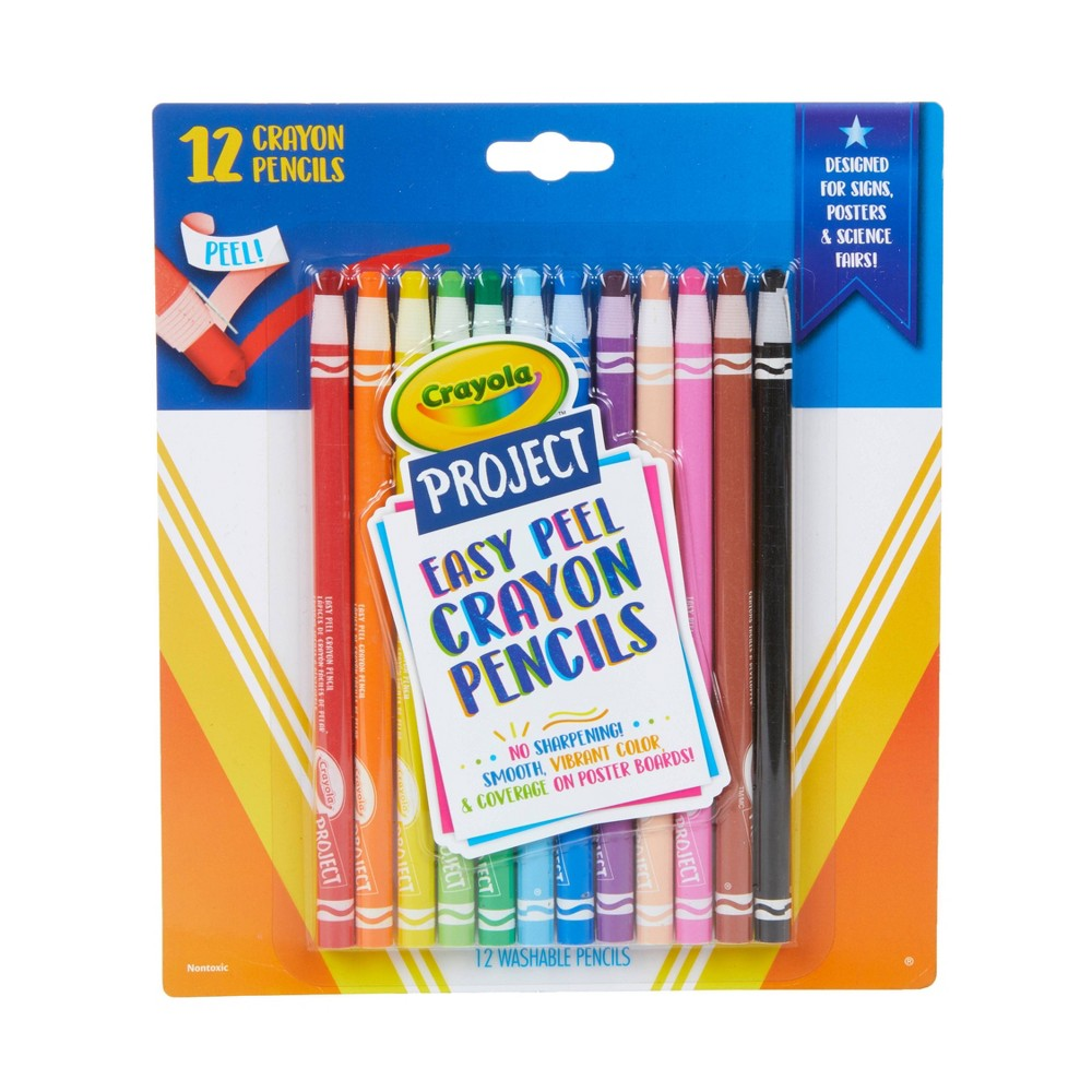 Image of 12ct Crayola Project Easy Peel Crayon Pencils