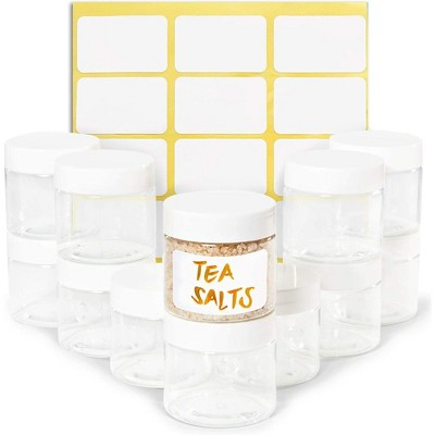 Juvale 12 Pack Clear Round Plastic Jars with Lids, 2oz Empty Food Storage Containers with Label Stickers for Spice, Powder and Cooking Oil