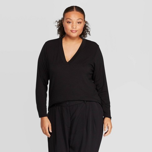fashion style of 2019 top brands great look Women's Plus Size Long Sleeve Deep V-Neck T-Shirt - Prologue™ Black