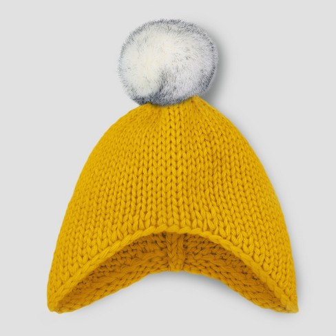 Toddler Beanie with Faux Fur Pom - Cat & Jack™ Yellow 2T-5T - image 1 of 1