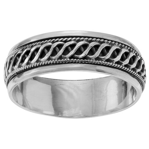 Unisex Journee Collection Braid Spinner Band in Sterling Silver - Silver - image 1 of 1