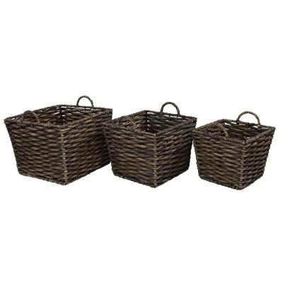 3pk Large Square Water Hyacinth Wicker Storage Baskets
