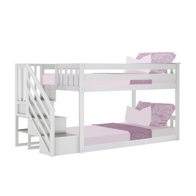 Max & Lily Twin Low Bunk Bed with Staircase