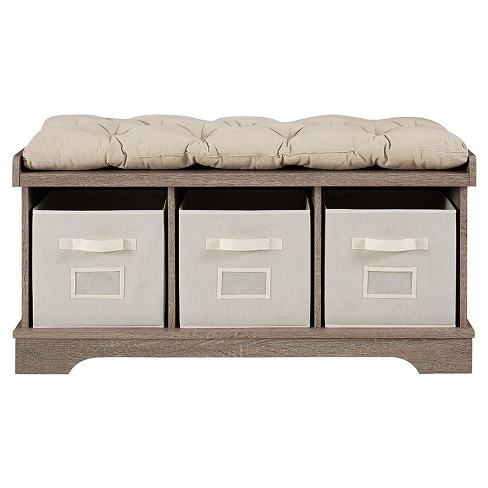 42 Wood Storage Bench With Totes And Cushion Driftwood Saracina