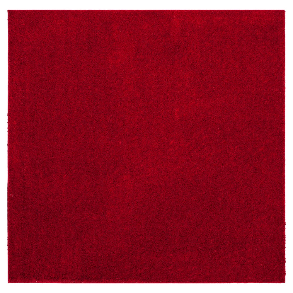 Red Solid Loomed Square Area Rug - (6'7