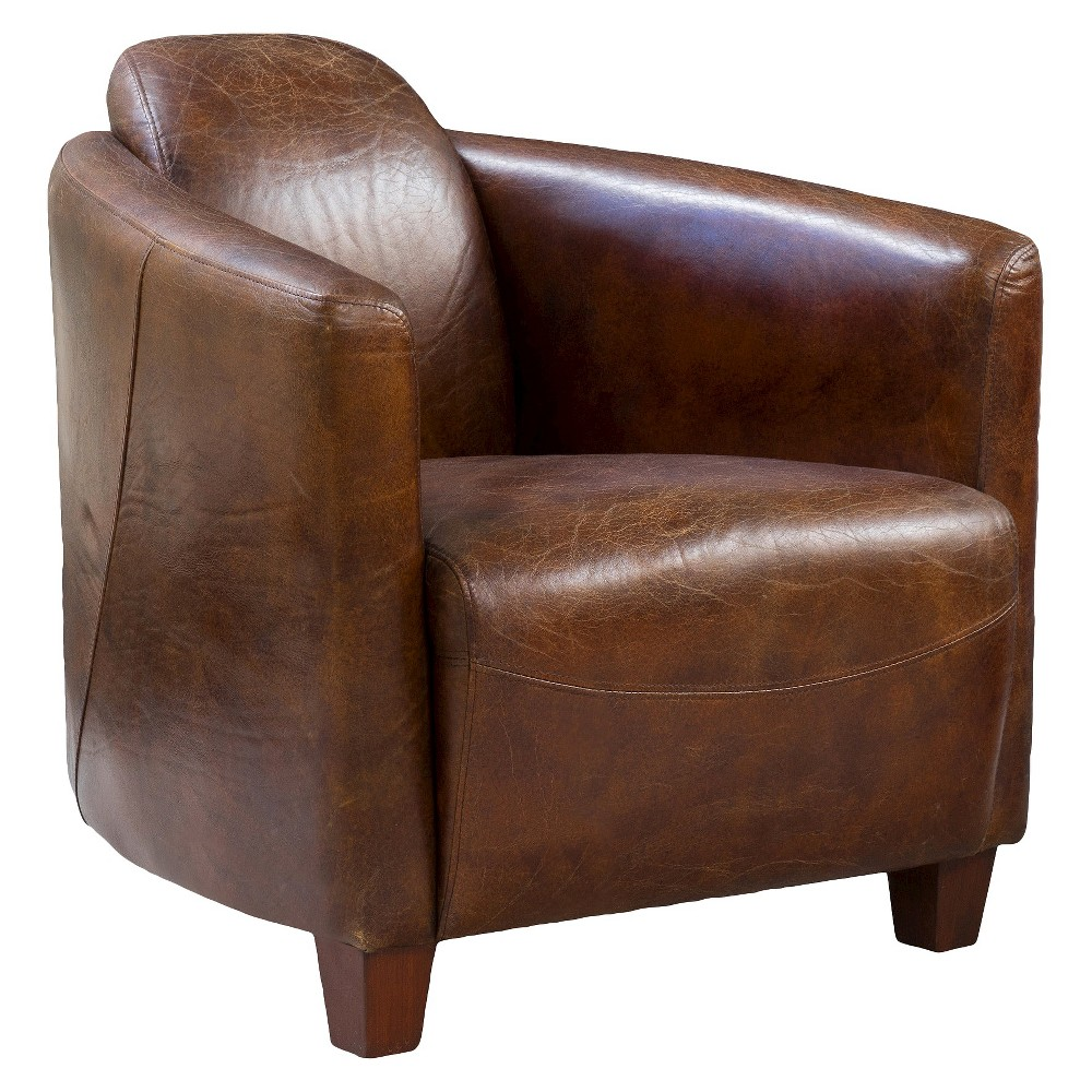 Elle Leather Club Chair Brown - Christopher Knight Home