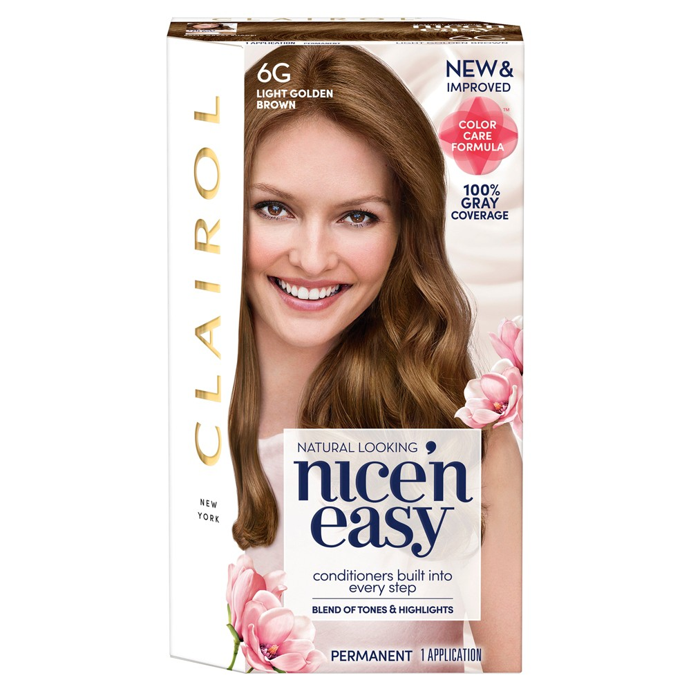 Image of Clairol Nice 'N Easy Permanent Hair Color - 6G Light Golden Brown - 1 Kit