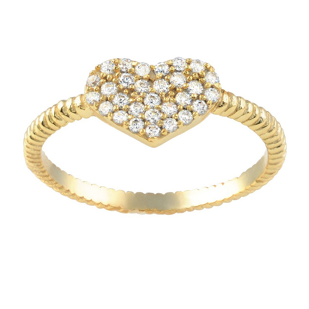 1/4 CT. T.W. Round-cut CZ Heart Accent Pave Set Ring in Sterling Silver - Gold, 7, Girl's