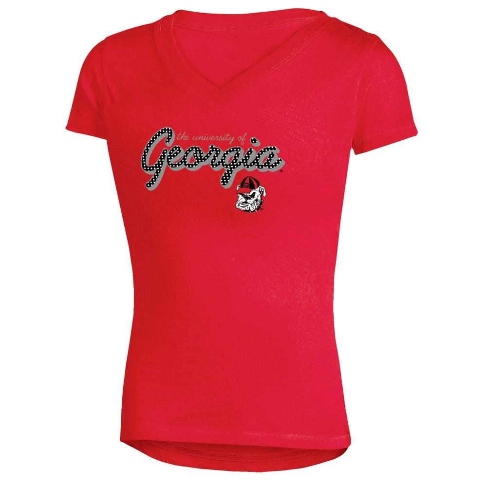 Georgia Bulldogs Girls' Short Sleeve Bright Lights V-Neck T-Shirt S, Multicolored