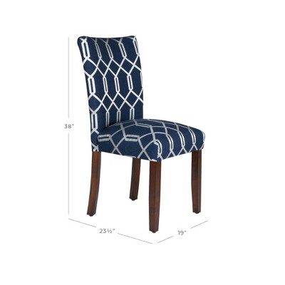 Parson Dining Chair Wood/Navy Lattice (Set Of 2)   HomePop