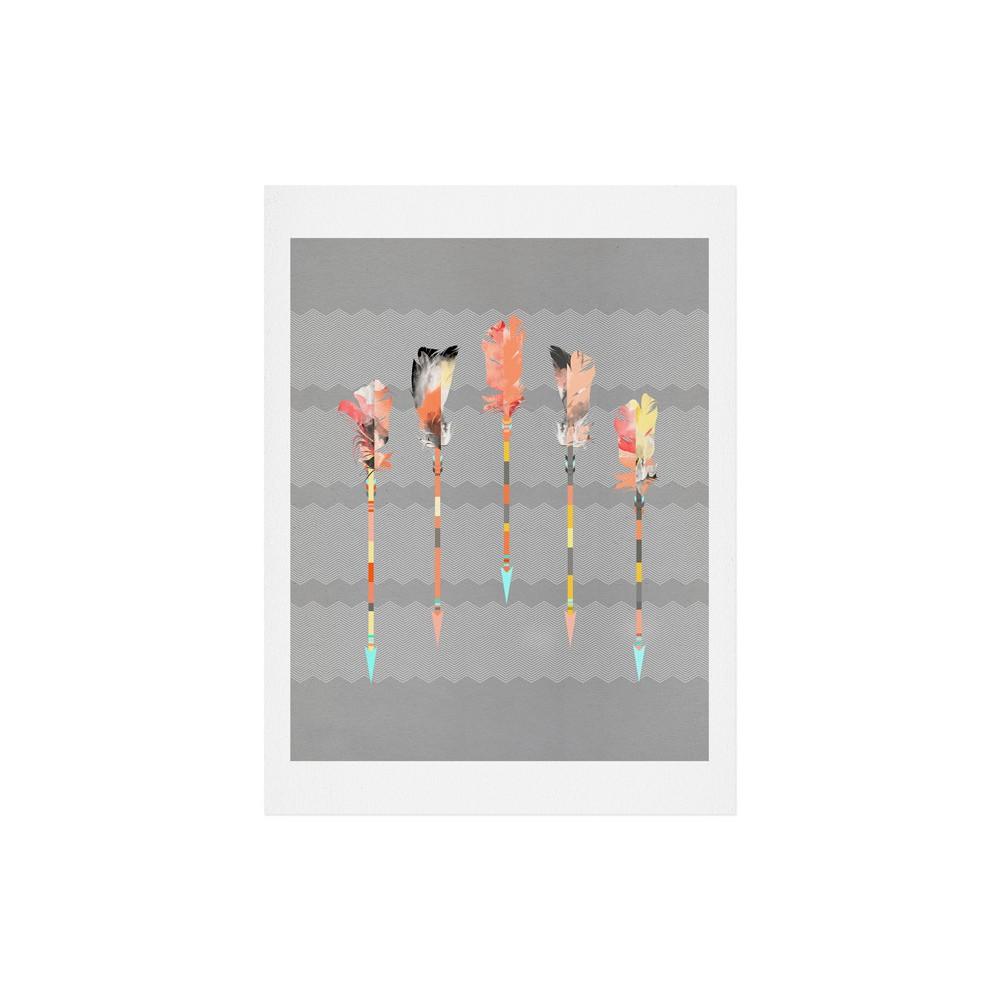 "Image of ""Iveta Abolina Gray Pastel Feathers Art Print 8"""" x 10"""" - Deny Designs"""