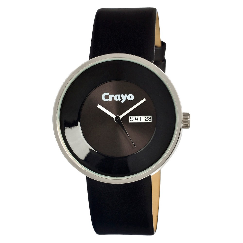Image of Women's Crayo Button Watch with Day and Date Display - Black, Size: Small