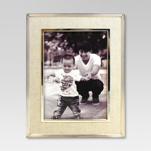 "5"" x 7"" Metal Frame with Linen Mat Natural - Threshold™ - image 1 of 4"