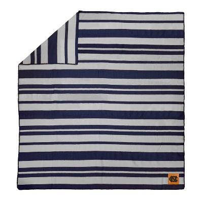 NCAA North Carolina Tar Heels Acrylic Stripe Throw Blanket with Faux Leather Logo Patch