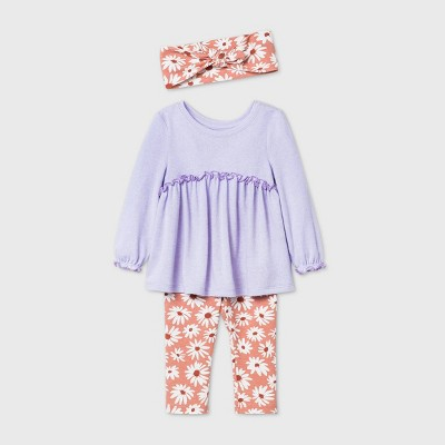 Baby Girls' Floral Hatchi Long Sleeve Top & Bottom Set - Cat & Jack™ Lavender 0-3M