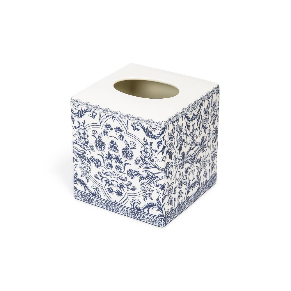 Image of Damask Tissue Holder Blue - Cassadecor, White Blue