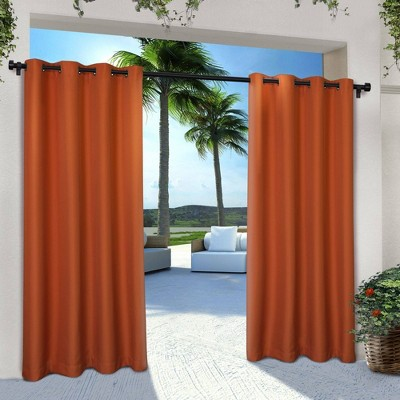 "Set of 2 84""x54"" Solid Cabana Grommet Top Light Filtering Curtain Panel Orange - Exclusive Home"