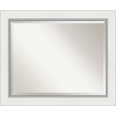 "33"" x 27"" Eva White Silver Framed Bathroom Vanity Wall Mirror - Amanti Art"