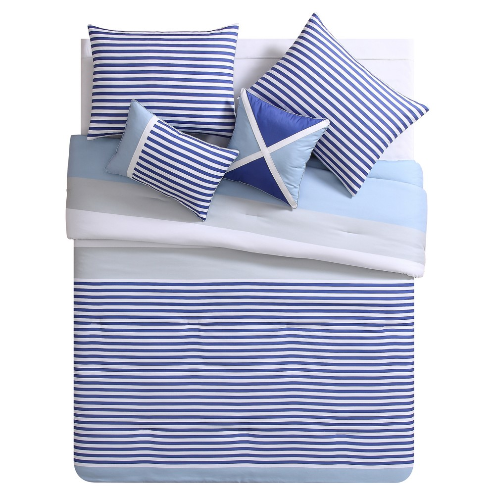 Blue & White Collegiate Stripe Comforter Set (Full/Queen) 5pc - Vcny