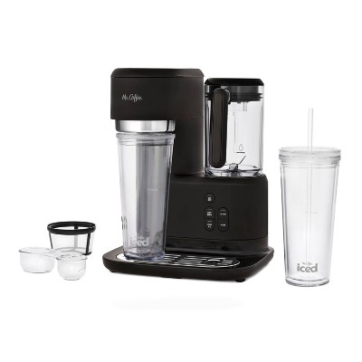 Mr. Coffee Frappe Single-Serve Iced and Hot Coffee Maker/Blender with 2 Reusable Tumblers and Coffee Filter  - Black