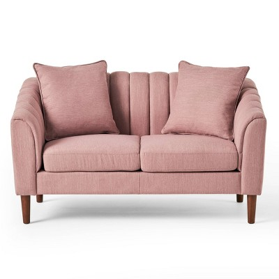 Gamay Contemporary Channel Stitched Fabric Loveseat Light Blush/Dark Walnut - Christopher Knight Home