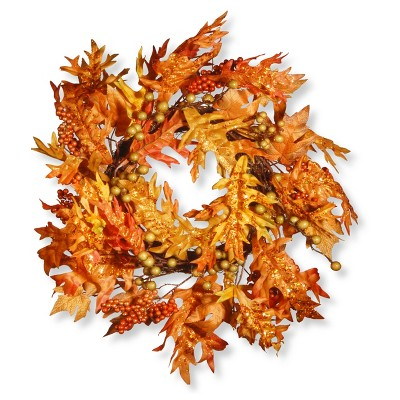 24  Maple Leaf and Berry Wreath - National Tree Company