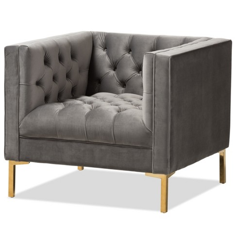 Phenomenal Zanetta Luxe And Glamour Velvet Upholstered Gold Finished Lounge Chair Baxton Studio Ibusinesslaw Wood Chair Design Ideas Ibusinesslaworg