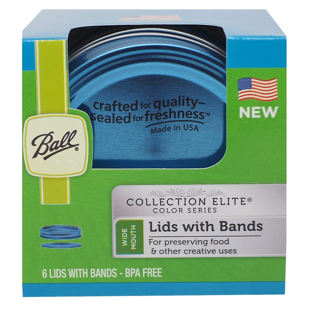 Image of Ball Set of 6 Wide Mouth Lids & Bands - Blue