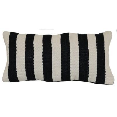 Outdoor Throw Pillow Lumbar - Woven Bold Stripe Black - Project 62™