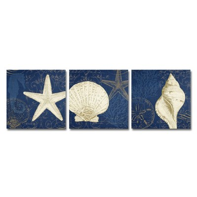 "19.56""x26"" Pela Studio 'Coastal Moonlight Teal' 3 Panel Decorative Wall Art set - Trademark Fine Art"