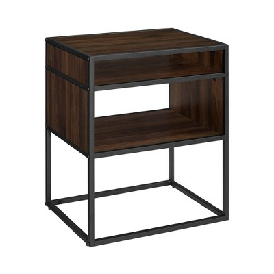 "20"" Metal and Wood Side Table with Open Shelf - Saracina Home"