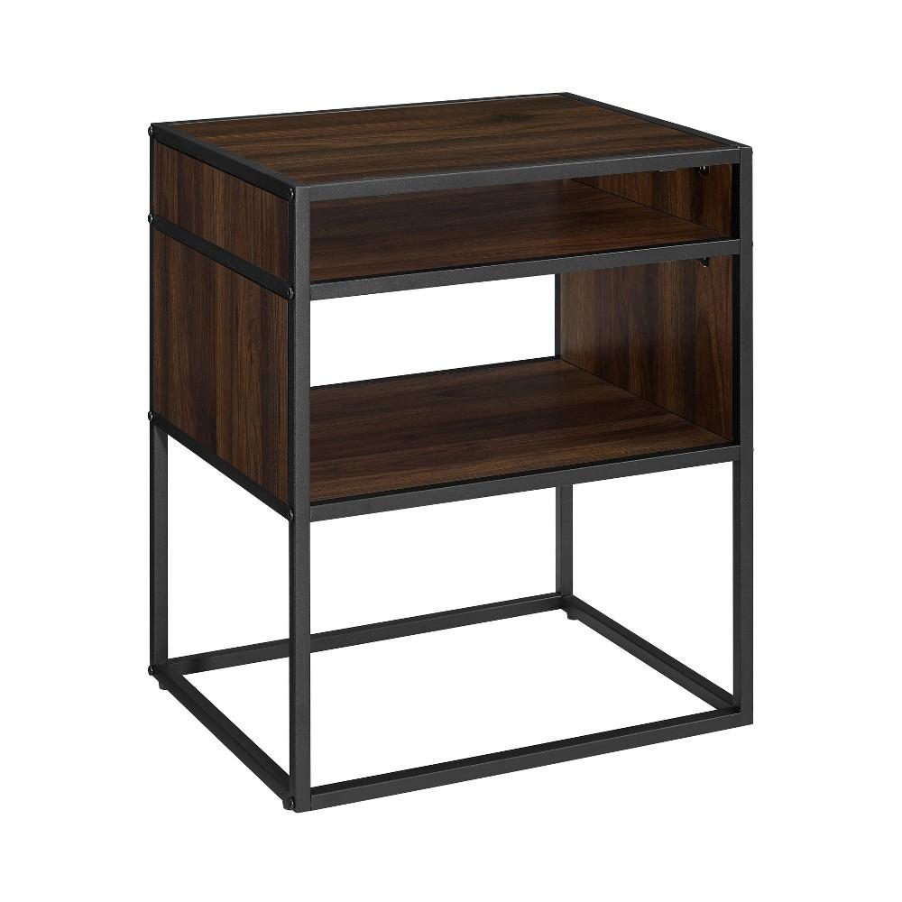 20 Metal and Wood Side Table with Open Shelf Dark Walnut - Saracina Home