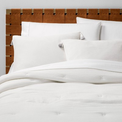Full/Queen Solid Cotton Gauze Tasseled Comforter Set White - Opalhouse™