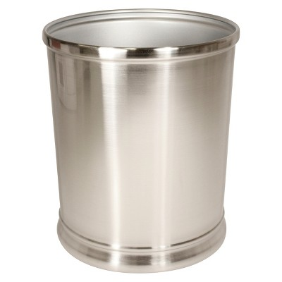 Bathroom Wastebasket Silver Nickel - iDESIGN