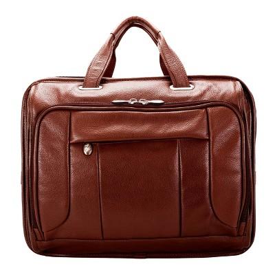 "McKlein 15"" River West Pebble Grain Calfskin Leather Laptop Bag - Brown"