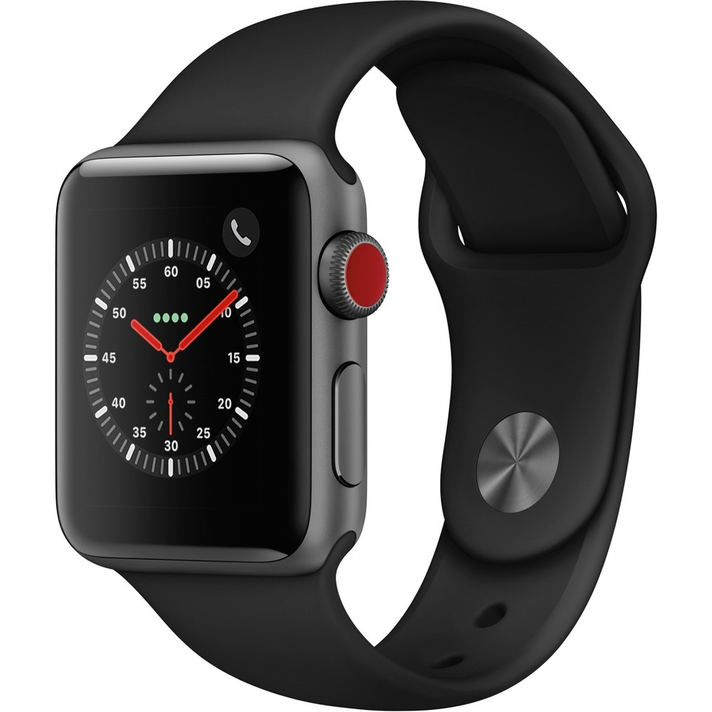 Apple Watch Series 3 Gps & Cellular 42mm Space Gray Aluminum Case with Sport Band - Black Fundamentally redesigned and re-engineered. The largest Apple Watch display yet. Built-in electrical heart sensor. Automatic workout detection. Fall detection and Emergency Sos. Built-in cellular lets you use Walkie-Talkie, make phone calls, and send messages. Stream Apple Music and Apple Podcasts. And use Siri in all-new ways—even while you're away from your phone. Color: Space Gray.