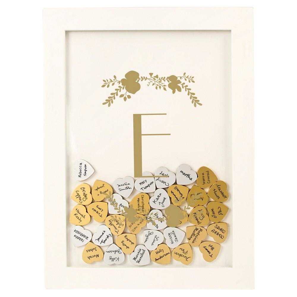 'e' Guestbook Dropbox Floral Gold, White - E